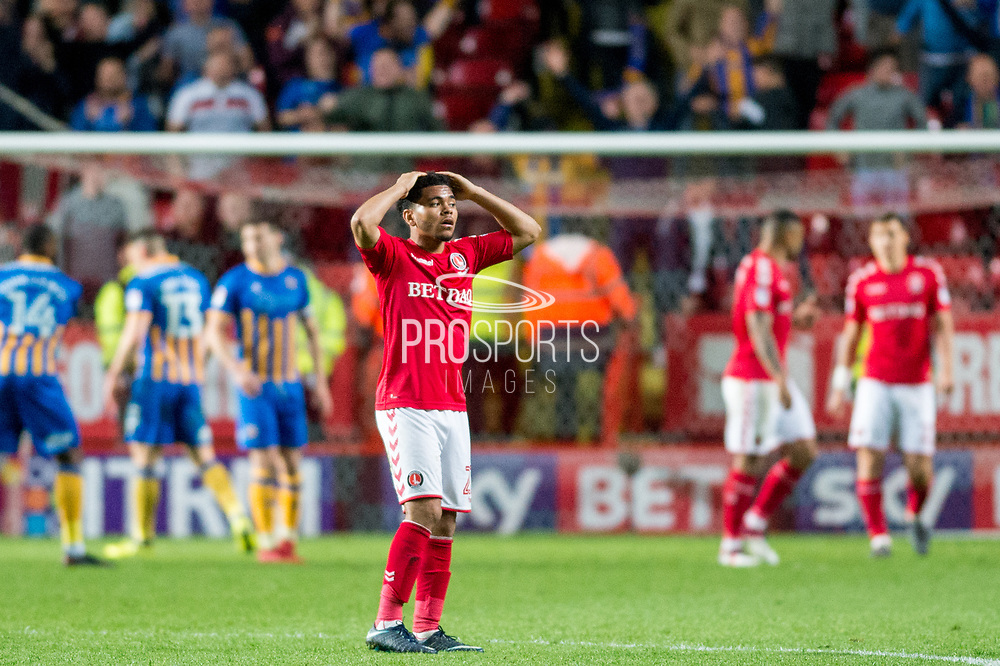 Charlton Jay Dasilva (22) hands on head at final whistle after their one nil defeat against Shrewsbury Town during the EFL Sky Bet League 1 match between Charlton Athletic and Shrewsbury Town at The Valley, London, England on 10 May 2018. Picture by Robin Pope.