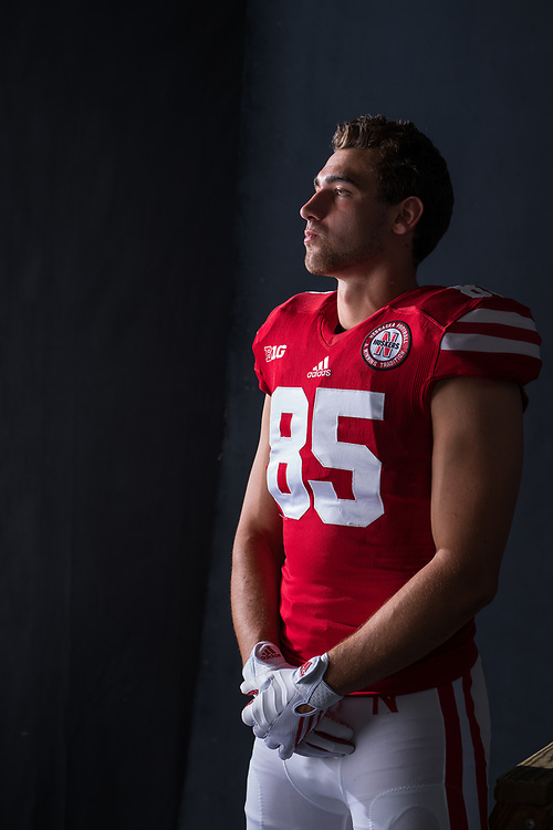 MATT SNYDER #85 during a portrait session at Memorial Stadium in Lincoln, Neb. on June 7, 2017. Photo by Paul Bellinger, Hail Varsity