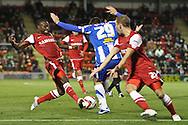 Picture by David Horn/Focus Images Ltd +44 7545 970036.16/10/2012.Moses Odubajo of Leyton Orient (left) wins the ball during the npower League 1 match at the Matchroom Stadium, London.