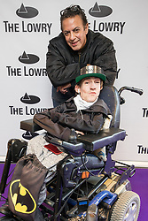 © Licensed to London News Pictures . 30/08/2017 . Salford , UK . Jimmi Harkishin and Kyle Wells . Purple carpet photos of celebrities, actors and invited guests arriving for the press night of the musical comedy , Addams Family , at the Lowry Theatre . Photo credit : Joel Goodman/LNP