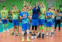 Players of Slovenia celebrate during volleyball match between National teams of Slovenia and Georgia in 2nd Round of 2018 FIVB Volleyball Men's World Championship qualification, on May 24, 2017 in Arena Stozice, Ljubljana, Slovenia. Photo by Vid Ponikvar / Sportida