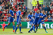 Che Adams of Birmingham City celebrates scoring his teams first goal, 0-1, during the EFL Sky Bet Championship match between Bristol City and Birmingham City at Ashton Gate, Bristol, England on 7 May 2017. Photo by Andrew Lewis.