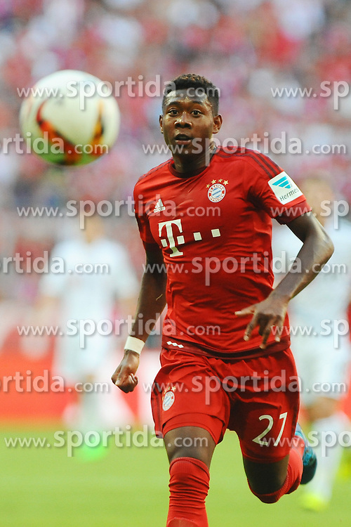 29.08.2015, Allianz Arena, Muenchen, GER, 1. FBL, FC Bayern Muenchen vs Bayer 04 Leverkusen, 3. Runde, im Bild David Alaba (FC Bayern Muenchen) // during the German Bundesliga 3rd round match between FC Bayern Munich and Bayer 04 Leverkusen at the Allianz Arena in Muenchen, Germany on 2015/08/29. EXPA Pictures &copy; 2015, PhotoCredit: EXPA/ Eibner-Pressefoto/ Stuetzle<br /> <br /> *****ATTENTION - OUT of GER*****