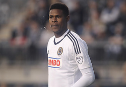 April 14, 2017 - Chester, PA, United States of America - Philadelphia Union Keeper ANDRE BLAKE (1) watches the field in the first half of a Major League Soccer match between the Philadelphia Union and New York City FC Friday, Apr. 17, 2016 at Talen Energy Stadium in Chester, PA. (Credit Image: © Saquan Stimpson via ZUMA Wire)