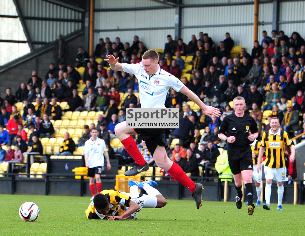 Nathan Austin of East Fife crashes to the ground in a challenge with Brain McGhee of Clyde<br /> (c) Billy White | SportPix.org.uk