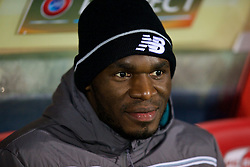 LIVERPOOL, ENGLAND - Thursday, December 10, 2015: Liverpool's substitute Christian Benteke before the UEFA Europa League Group Stage Group B match against FC Sion at Stade de Tourbillon. (Pic by David Rawcliffe/Propaganda)