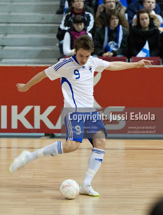 Joonas Laurikainen. Suomi - Kypros. Futsal. EM-alkukarsinta. Tampere 23.1.2011. Photo: Jussi Eskola