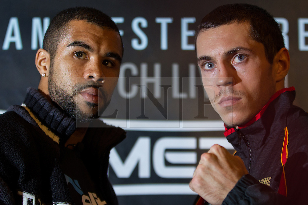 © Licensed to London News Pictures . 20/11/2012 . Manchester , UK . l-r Rendall Munroe and Scott Quigg . Hatton Promotions Ricky Hatton undercard press conference at Manchester's Hard Rock Cafe today (20th November 2012) ahead of bouts at the Manchester Arena on November 24th 2012 . Photo credit : Joel Goodman/LNP
