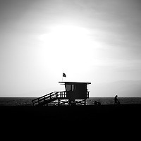 Santa Monica lifeguard tower black and white picture. Photo was taken in 2012 at Santa Monica State Beach Park in Los Angeles County Southern California.