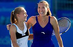Aleksandra Krunic and Jelena Jankovic of Serbia at 1st Round of Doubles at Banka Koper Slovenia Open WTA Tour tennis tournament, on July 19, 2010 in Portoroz / Portorose, Slovenia. (Photo by Vid Ponikvar / Sportida)
