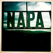 A sign for Napa Valley near Calistoga and St Helena, California
