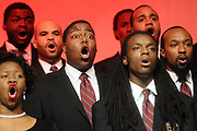Members of the Morehouse College Glee Club perform at the Georgia World Congress Center.