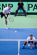 (L) Marcin Matkowski & (R) Mariusz Fyrstenberg both from Poland compete in double match during the BNP Paribas Davis Cup 2014 between Poland and Croatia at Torwar Hall in Warsaw on April 5, 2014.<br /> <br /> Poland, Warsaw, April 5, 2014<br /> <br /> Picture also available in RAW (NEF) or TIFF format on special request.<br /> <br /> For editorial use only. Any commercial or promotional use requires permission.<br /> <br /> Mandatory credit:<br /> Photo by © Adam Nurkiewicz / Mediasport
