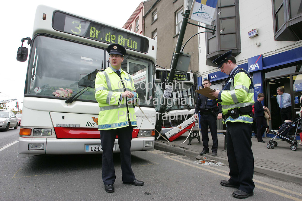 6/10/2004.The scene of the bus crash on the Quays in Waterford yesterday..Picture Dylan Vaughan
