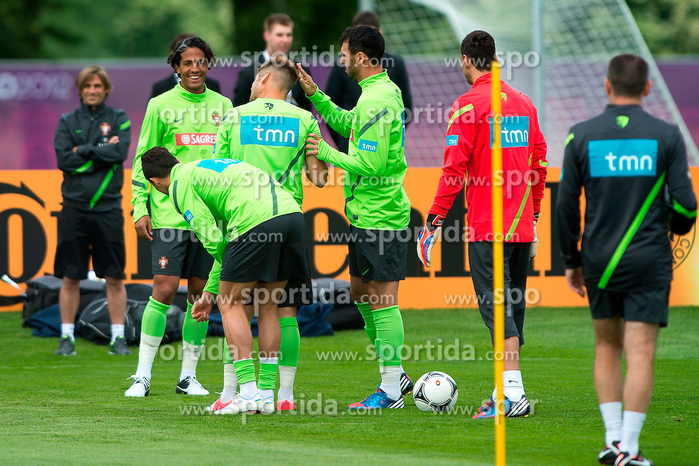 06.06.2012, Sportzentrum Remes, Opalenica, POL, UEFA EURO 2012, Portugal, Training, im Bild BRUNO ALVES, MIGUEL VELOSO, HUGO ALMEIDA // during EURO 2012 Trainingssession of Portugal Nationalteam, at the Sportcenter Remes, Opalenica, Poland on 2012/06/06. EXPA Pictures © 2012, PhotoCredit: EXPA/ Newspix/ Jakub Kaczmarczyk..***** ATTENTION - for AUT, SLO, CRO, SRB, SUI and SWE only *****