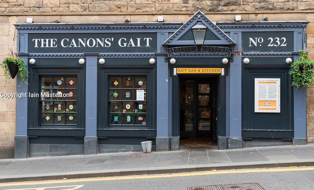 Exterior view of Canons Gait pub on Royal Mile in Edinburgh, Scotland, UK