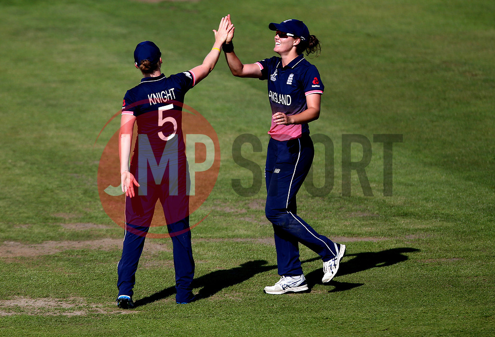 Natalie Sciver of England Women celebrates with Heather Knight of England Women after taking a catch - Mandatory by-line: Robbie Stephenson/JMP - 05/07/2017 - CRICKET - County Ground - Bristol, United Kingdom - England Women v South Africa Women - ICC Women's World Cup Group Stage