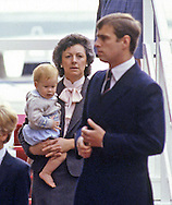 PRINCE HARRY_30 years on<br /> Prince Harry carried by Nanny Barnes as they leave HMY Britannia at the end of the Royal Scottish isles cruse, Aberdeen August 1985<br /> Prince Harry celebrates his 30th birthday on the 15th of September 2014<br /> Mandatory Photo Credit: &copy;Dias/NEWSPIX INTERNATIONAL<br /> <br /> Mandatory credit photo:NEWSPIX INTERNATIONAL(Failure to credit will incur a surcharge of 100% of reproduction fees)<br /> <br /> **ALL FEES PAYABLE TO: &quot;NEWSPIX INTERNATIONAL&quot;**<br /> <br /> Newspix International, 31 Chinnery Hill, Bishop's Stortford, ENGLAND CM23 3PS<br /> Tel:+441279 324672<br /> Fax: +441279656877<br /> Mobile:  07775681153<br /> e-mail: info@newspixinternational.co.uk