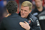 Bournemouth Manager Eddie Howe greets Watford FC manager Enrique Sanchez  during the Barclays Premier League match between Bournemouth and Watford at the Goldsands Stadium, Bournemouth, England on 3 October 2015. Photo by Mark Davies.