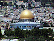 A view of the old city of Jerusalem and the dome of the rock from mount Olives