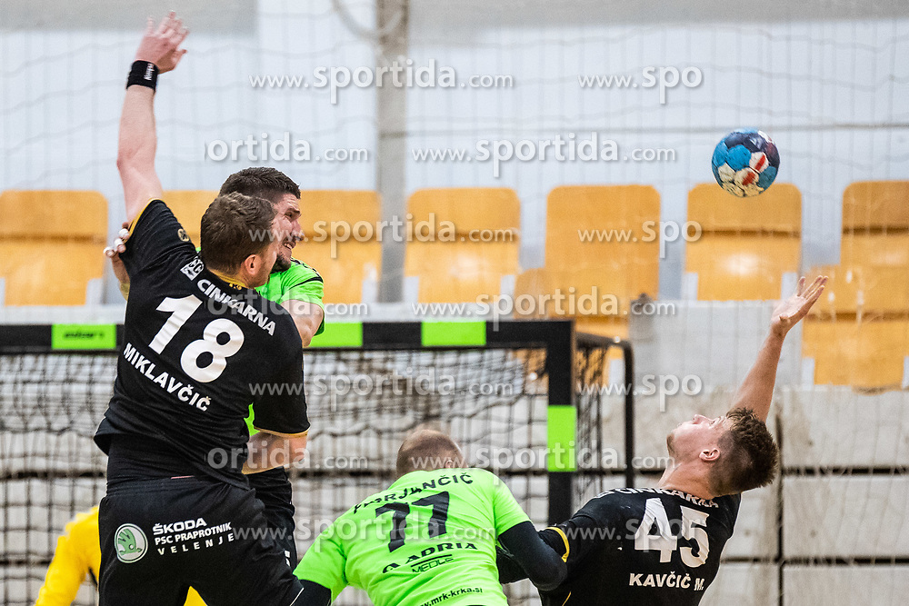 David Miklavcic of RK Gorenje Velenje and Miha Kavcic of RK Gorenje Velenje during handball match between RK Gorenje Velenje and MRK Krka in Final of Slovenian Men Handball Cup 2018/19, on Maj 12, 2019 in Novo Mesto, Slovenia. Photo by Grega Valancic / Sportida