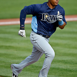February 25, 2011; Port Charlotte, FL, USA; Tampa Bay Rays left fielder Desmond Jennings (8) during a spring training split squad scrimmage at Charlotte Sports Park.  Mandatory Credit: Derick E. Hingle