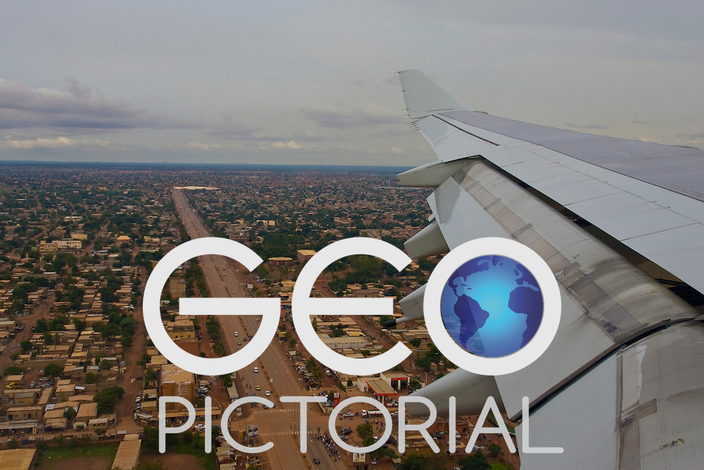 View from airplane window landing in Ougadougou, Burkina Faso.