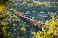 Salisbury Mills, New York -  A view of the Moodna Viaduct railroad trestle from Schunnemunk Mountain  on Sept. 25, 2010.
