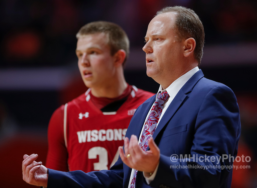 CHAMPAIGN, IL - FEBRUARY 08: Head coach Greg Gard of the Wisconsin Badgers is seen during the game against the Wisconsin Badgers at State Farm Center on February 8, 2018 in Champaign, Illinois. (Photo by Michael Hickey/Getty Images) *** Local Caption *** Greg Gard
