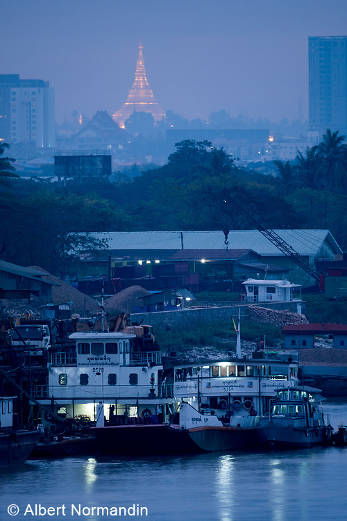 View of Shwedagon Pagoda and Yangon River, Rangoon, Yangon, Myanmar