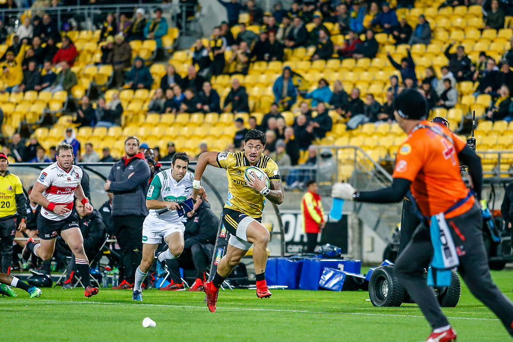 Ben Lam runs with the ball during the Super rugby (Round 12) match played between Hurricanes  v Lions, at Westpac Stadium, Wellington, New Zealand, on 5 May 2018.  Hurricanes won 28-19.