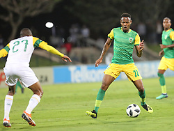 Durban, SOUTH AFRICA - SEPTEMBER 19: Lunga Divine  and Sibusiso Sibeko playing for a ball during the Absa Premiership match between Golden Arrows and Mamelodi Sundowns at Princess Magogo Stadium on September 19, 2018 in Durban, South Africa. <br /> (Photo by Motshwari Mofokeng/ANA)