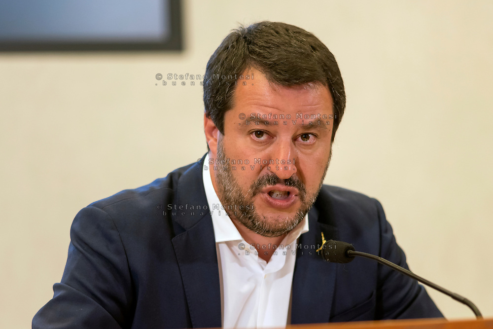 ROME, ITALY - APRIL 24: Italian Deputy Premier and Interior Minister Matteo Salvini of the Interior holds a press conference at the Ministry of the Interior on security, terrorism, Islamic extremism and immigration on April 24, 2019 in Rome, Italy. (Photo by Stefano Montesi )