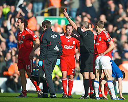LIVERPOOL, ENGLAND - Saturday, February 6, 2010: Liverpool's Sotirios Kyrgiakos is shown the red card, and sent off by referee Martin Atkinson during the Premiership match against Everton at Anfield. The 213th Merseyside Derby. (Photo by: David Rawcliffe/Propaganda)