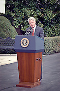 US President Bill Clinton makes a statement on the Yugoslavia crisis and bombing against Serbian targets by US-led NATO forces before departing for Camp David March 28, 1999 at the White House, Washington, DC.