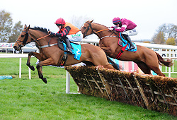 Bedrock and jockey Rachael Blackmore lead Samcro and jockey Jack Kennedy before going on to win the WKD Hurdle during day one of the Down Royal Festival.