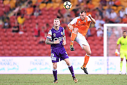 January 18, 2018 - Brisbane, QUEENSLAND, AUSTRALIA - Avraam Papadopoulos of the Roar (#6, right) heads the ball during the round seventeen Hyundai A-League match between the Brisbane Roar and the Perth Glory at Suncorp Stadium on January 18, 2018 in Brisbane, Australia. (Credit Image: © Albert Perez via ZUMA Wire)