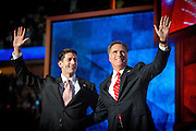 Presidential hopeful Mitt Romney and his Vice President Candidate Paul Ryan celebrate on the stage after Mitt Romney held his acceptance speech at the GOP National Convention held at the Tampa Bay Forum.