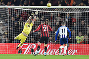 Aaron Ramsdale (12) of AFC Bournemouth makes a save during the Premier League match between Bournemouth and Brighton and Hove Albion at the Vitality Stadium, Bournemouth, England on 21 January 2020.