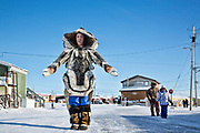 Charlotte Crosby TLC Travel show. Charlotte in her seal furs in Igloolik