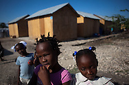 CLIENT: AMERICAN RED CROSS<br /> <br /> Children play outside of their temporary homes at an American Red Cross project site in Port-au-Prince, Haiti.