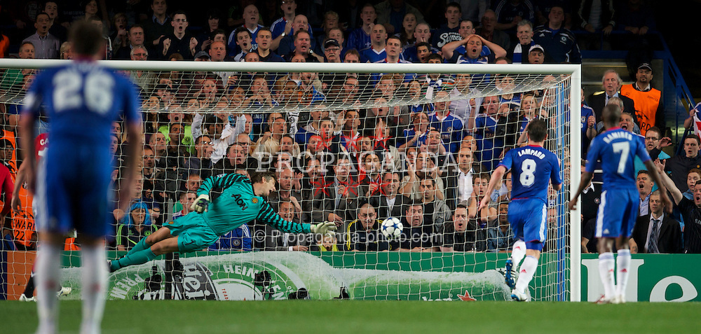 LONDON, ENGLAND, Wednesday, April 6, 2011: Manchester United's goalkeeper Edwin van der Sar is beaten but the ball hits the post during the UEFA Champions League Quarter-Final 1st leg match against Chelsea at Stamford Bridge. (Photo by David Rawcliffe/Propaganda)