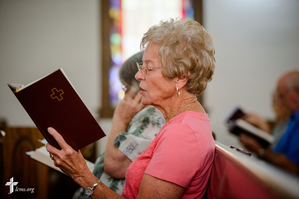 Carmen Nielson sings during worship at Zion Evangelical Lutheran Church, Lu Verne, Iowa, on Sunday, July 9, 2017. LCMS Communications/Erik M. Lunsford