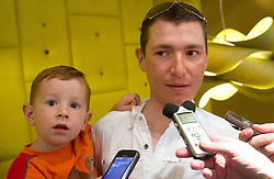 Slovenian rider Jani Brajkovic of Team RadioShack with his son Miha at press conference before cycling race Tour de France 2011, on June 27, 2011, in Crnuce, Ljubljana, Slovenia. (Photo by Vid Ponikvar / Sportida)