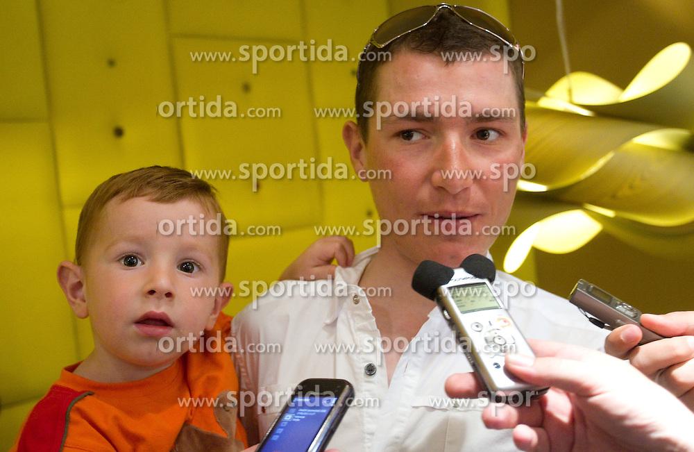 Slovenian rider Jani Brajkovic of Team RadioShack with his son Miha at press conference before cycling race Tour de France 2011, on June 27, 2011, in Crnuce, Ljubljana, Slovenia. (Photo by Vid Ponikvar / Sportida)