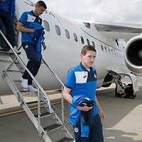FK Trakai v St Johnstone…05.07.17… Europa League 1st Qualifying Round 2nd Leg<br />St Johnstone's Blair Alston steps off the aircraft after landing in Vilnius, Lithuania<br />Picture by Graeme Hart.<br />Copyright Perthshire Picture Agency<br />Tel: 01738 623350  Mobile: 07990 594431