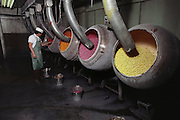 Vats of gumballs at US Chewing Gum factory in Oakland, California. USA.