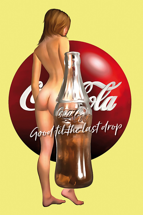 "There are few brands more legendary than Coca-Cola. If you love Coke, or if you just appreciate the potential of unique pop art, this combination of the Coca-Cola bottle, the Coke logo, and one of their most famous slogans. ""Good till the last drop indeed!"" This piece brings all of these things together with a lovely image of a nude woman. This tribute to the female form is a great combination of humanity with mass media. There are a variety of different impressions that one can certainly take away from something such as this. You can have this place installed anywhere. .<br />