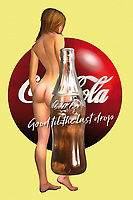 """There are few brands more legendary than Coca-Cola. If you love Coke, or if you just appreciate the potential of unique pop art, this combination of the Coca-Cola bottle, the Coke logo, and one of their most famous slogans. """"Good till the last drop indeed!"""" This piece brings all of these things together with a lovely image of a nude woman. This tribute to the female form is a great combination of humanity with mass media. There are a variety of different impressions that one can certainly take away from something such as this. You can have this place installed anywhere."""