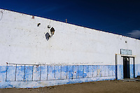 The Kasbah of the Oudayas is located at the mouth of the Bou Regreg river in Rabat, Morocco. Wall used to present election candidates.